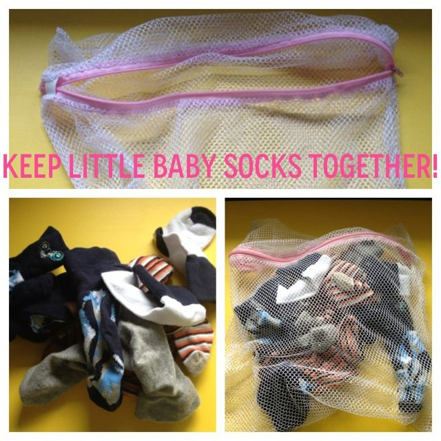 baby socks in lingerie bag