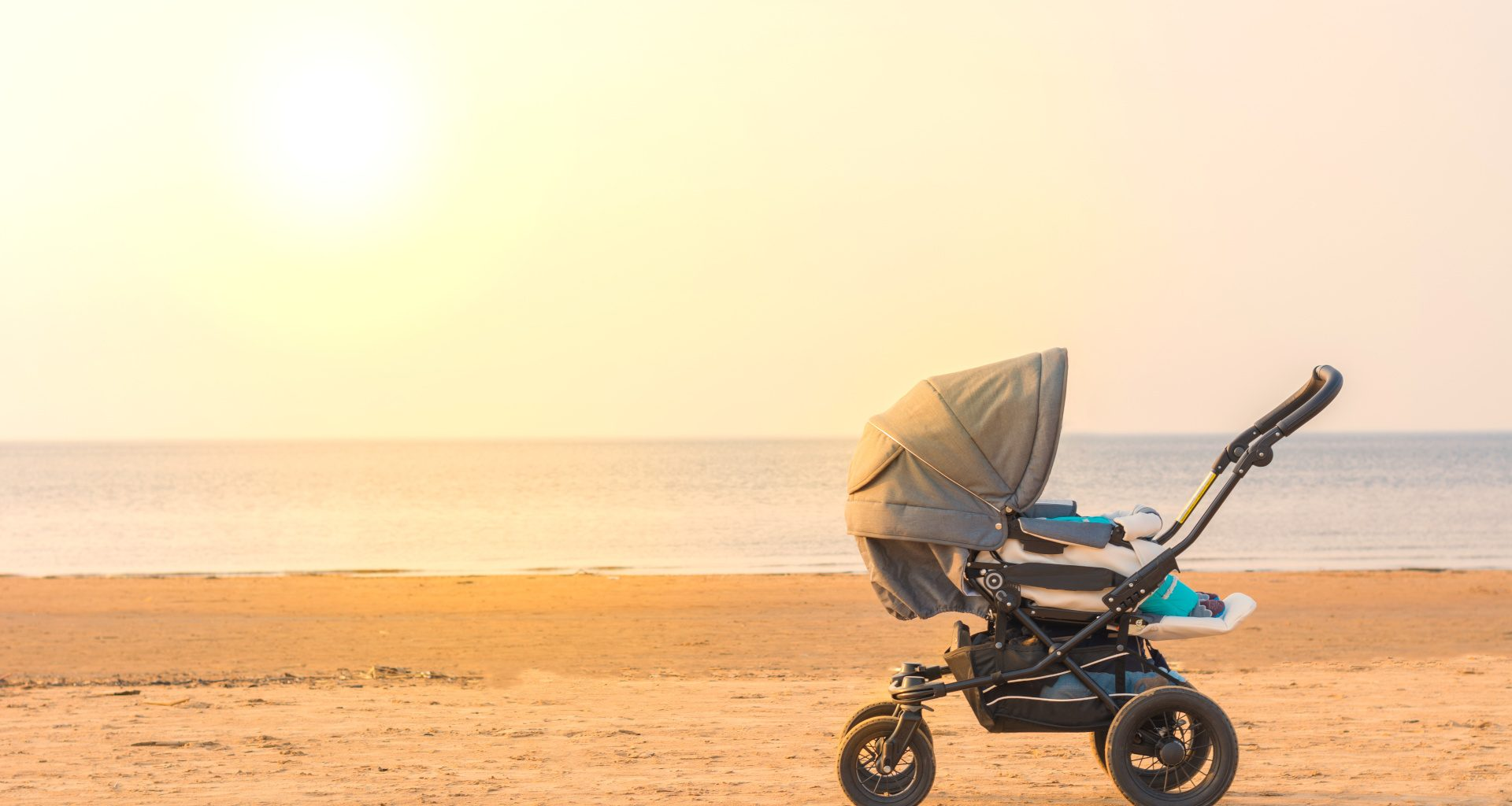 stroller on a beach