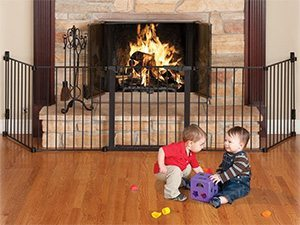 The fireplace is one of the most dangerous parts of the house for a mobile toddler. Here